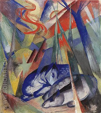 Sleeping Animals 1913 - Franz Marc reproduction oil painting