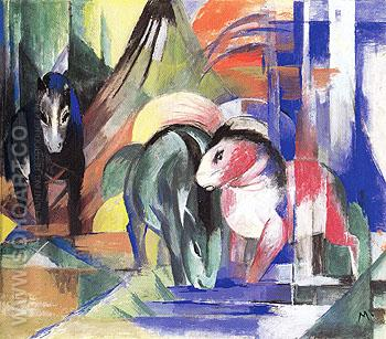 Three Horses at a Watering Place 1913 - Franz Marc reproduction oil painting