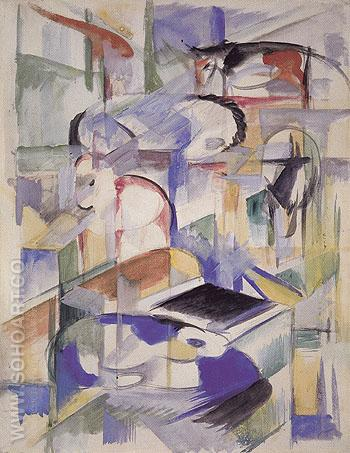 Composition with Animals 1913 - Franz Marc reproduction oil painting