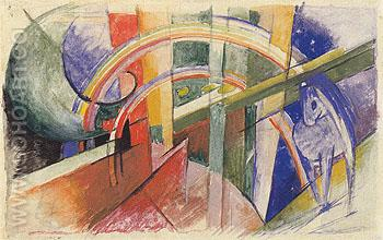 Blue Horse with a Rainbow 1913 - Franz Marc reproduction oil painting