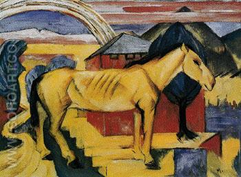 The Long Yellow Horse 1913 - Franz Marc reproduction oil painting
