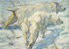Siberian Dogs in the Snow c1909 - Franz Marc reproduction oil painting