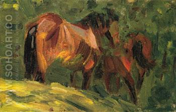 Sketch of Horses II 1906 - Franz Marc reproduction oil painting