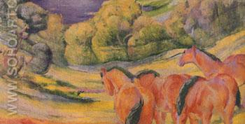 Large Landscape I 1909 - Franz Marc reproduction oil painting