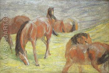 Grazing Horses I 1910 - Franz Marc reproduction oil painting
