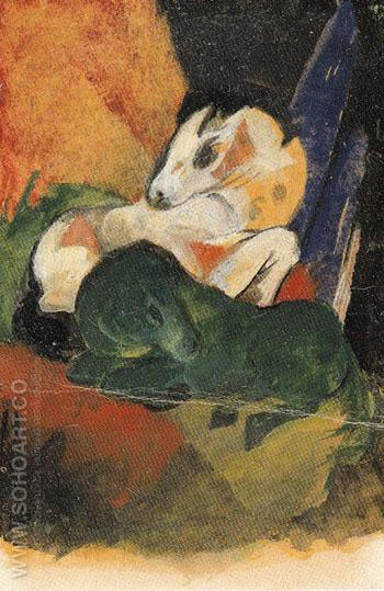 Green Horse and White Horse 1913 - Franz Marc reproduction oil painting