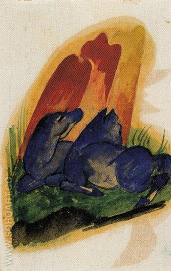 Two Blue Horses in Front of a Red Rock 1913 - Franz Marc reproduction oil painting
