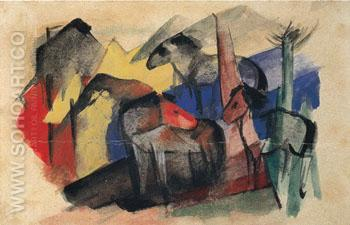 Three Horses in a Landscape with Houses 1913 - Franz Marc reproduction oil painting