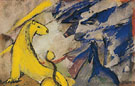 Yellow Lion Blue Foxes and Blue Horse 1914 - Franz Marc reproduction oil painting