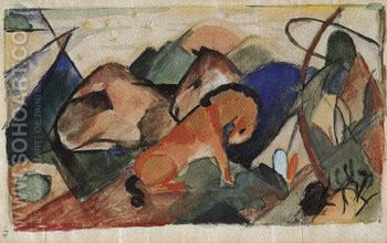 Mare and Foal Resting 1913 - Franz Marc reproduction oil painting