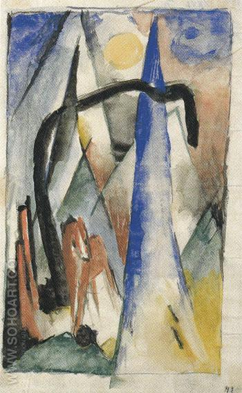 Horse in a Landscape with Pointed Forms 1913 - Franz Marc reproduction oil painting