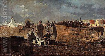 A Rainy Day in Camp 1871 - Winslow Homer reproduction oil painting