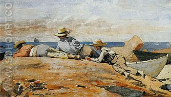 Three Boys on the Shore - Winslow Homer reproduction oil painting