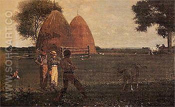 Weaning the Calf 1875 - Winslow Homer reproduction oil painting