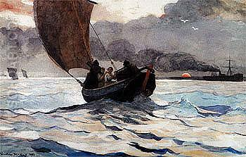 Returning Fishing Boats 1883 - Winslow Homer reproduction oil painting