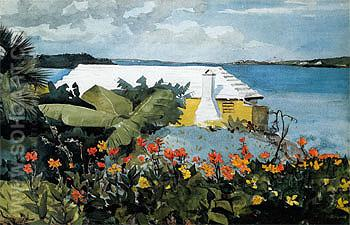 Flower Garden and Bungalow Bermuda - Winslow Homer reproduction oil painting
