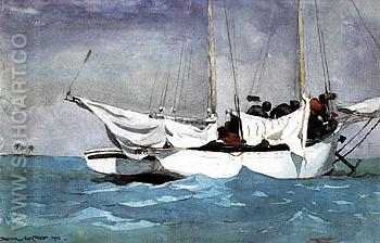 Key West Hauling Anchor 1903 - Winslow Homer reproduction oil painting