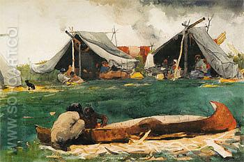 Montagnais Indians Making Canoes 1895 - Winslow Homer reproduction oil painting