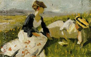 Two Women on the Hillside Sketch 1906 - Franz Marc reproduction oil painting