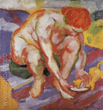 Nude with Cat 1910 - Franz Marc reproduction oil painting