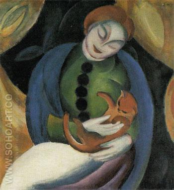 Girl with Cat II 1912 - Franz Marc reproduction oil painting