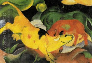 Cows Yellow Red Green 1912 - Franz Marc reproduction oil painting