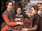 Three Sisters Playing Chess 1555 - Sofonisba Anguissola reproduction oil painting