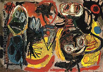 People Birds and Sun 1954 - Karel Appel reproduction oil painting