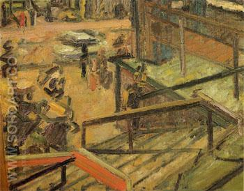 Euston Steps Study c1980 - Frank Auerbach reproduction oil painting