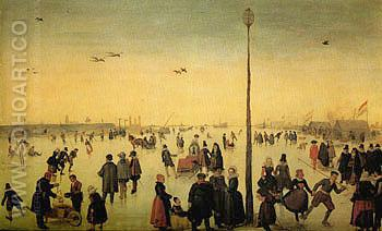 Winter Landscape with a Frozen River and Figures c1620 - Hendrick Avercamp reproduction oil painting
