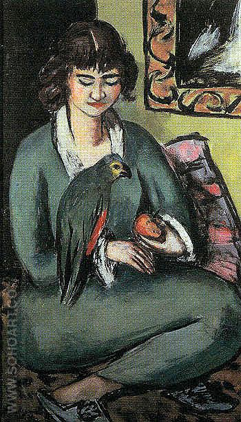 Quappi with Parrot 1936 - Max Beckmann reproduction oil painting