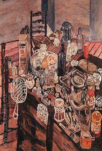 Still Life with a Chip Frier 1954 - John Bratby reproduction oil painting
