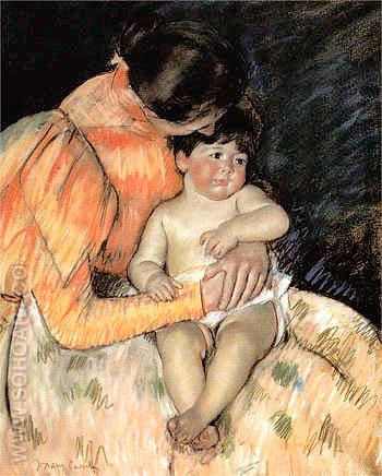 Mother and Child 1893 - Mary Cassatt reproduction oil painting