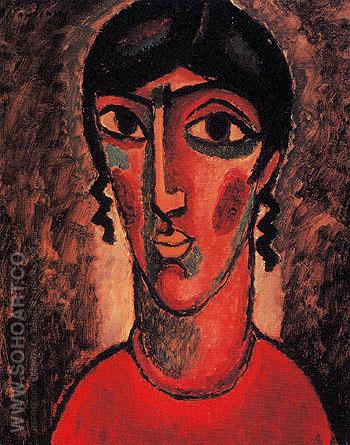 Spanish Woman with Grey Background 1913 - Alexei von Jawlensky reproduction oil painting