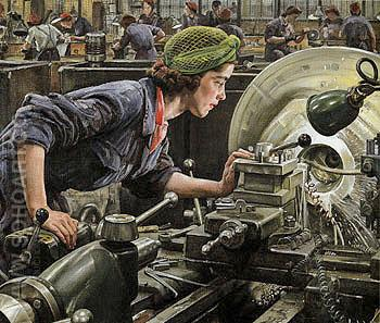 Ruby Loftus Screwing a Breech Ring 1943 - Dame Laura Knight reproduction oil painting