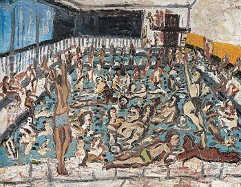 Childrens Swimming Pool After Afternoon 1971 - Leon Kossoff reproduction oil painting