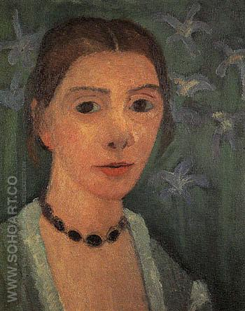 Self Portrait with Blue Irises c1906 - Paula Modersohn-Becker reproduction oil painting