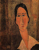 Jeanne Hebuterne with White Collar 1919 - Amedeo Modigliani reproduction oil painting