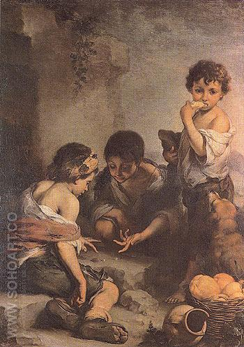 Childred Playing with Dice c1670 - Bartolome Esteban Murillo reproduction oil painting