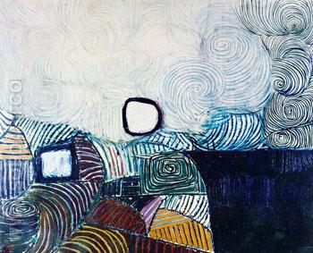 Spiral Motif in Green Violet Blue and Gold The Coast of the Inland Sea 1950 - Victor Pasmore reproduction oil painting