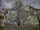 The Vegetable Garden with Trees in Blossom Spring Pontoise 1877 - Camille Pissarro reproduction oil painting