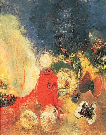 The Red Sphinx c1910 - Odilon Redon reproduction oil painting