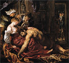 Samson and Delilah c1609 - Ruebens reproduction oil painting