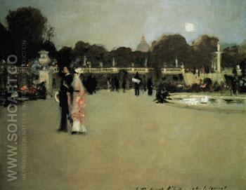 Luxembourg Gardens at Twilight - John Singer Sargent reproduction oil painting