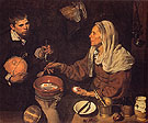 An Old Woman Cooking Eggs 1618 - Diego Velasquez reproduction oil painting