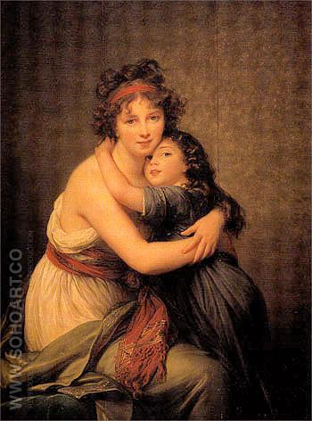 Portrait of the Artist and her Daughter 1789 - Elisabeth Vigee Le Brun reproduction oil painting