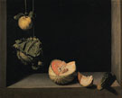 Still Life with Quince Cabbage Melton and Cucumber 1602 - Juan Sanchez Cotan reproduction oil painting
