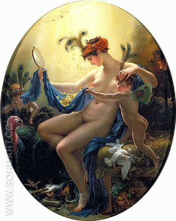 Portrait of Mlle Lange as Danae 1799 - Anne-Louis Girodet de Roucy-Trioson reproduction oil painting