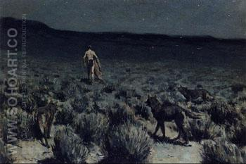 The Wolves Sniffed Along on the Trail but Came No Closer - Frederic Remington reproduction oil painting