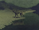 Moonlight Wolf c1909 - Frederic Remington reproduction oil painting
